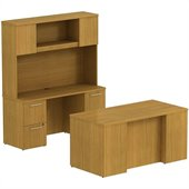 BBF 300 Series 60W x 30D Double Pedestal Desk with Credenza and Hutch