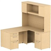 BBF 300 Series 60 Single Ped Desk L-Station with 2Dwr Ped and Hutch