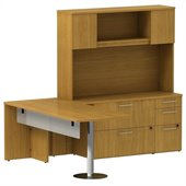 BBF 300 Series 72 Peninsula Pedestal L-Desk with Hutch and Lat File