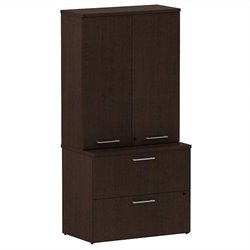 Bush BBF 300 Series Lateral File with Storage in Mocha Cherry