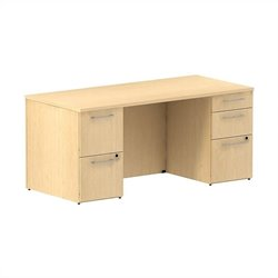 Bush BBF 300 Series 66W x 30D Double Pedestal Desk Kit in Natural Maple