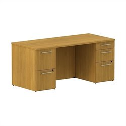 Bush BBF 300 Series 66W x 30D Double Pedestal Desk Kit in Modern Cherry
