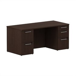 Bush BBF 300 Series 66W x 30D Double Pedestal Desk Kit in Mocha Cherry