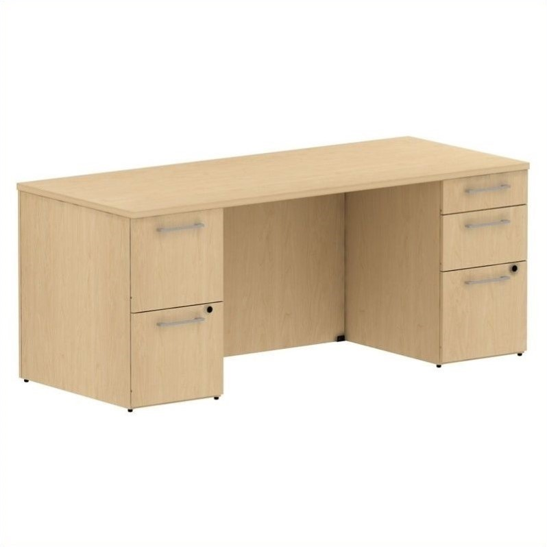 Bush Business 300 Series 72W x 30D Pedestal Desk in Natural Maple