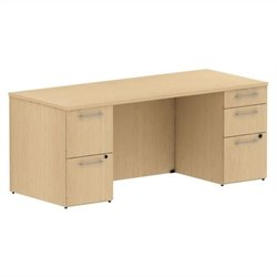 Bush BBF 300 Series 72W x 30D Double Pedestal Desk Kit in Natural Maple