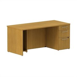 Bush BBF 300 Series 66W x 30D Single Pedestal Desk Kit in Modern Cherry