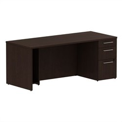 Bush BBF 300 Series 72W x 30D Single Pedestal Desk Kit in Mocha Cherry