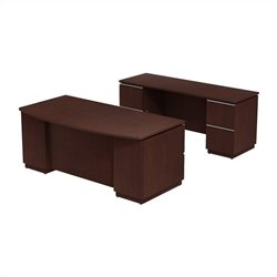 Bush BBF Milano2 72W x 36D Bowfront Double Pedestal Desk with Credenza in Harvest Cherry