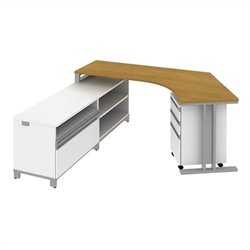 Bush BBF Momentum  Left L-Shaped Desk with Storage in Modern Cherry