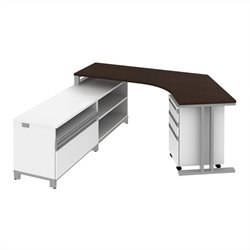 Bush BBF Momentum  Left L-Shaped Desk with Storage in Mocha Cherry