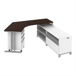 Bush BBF Momentum  Right L-Shaped Desk with Storage in Mocha Cherry