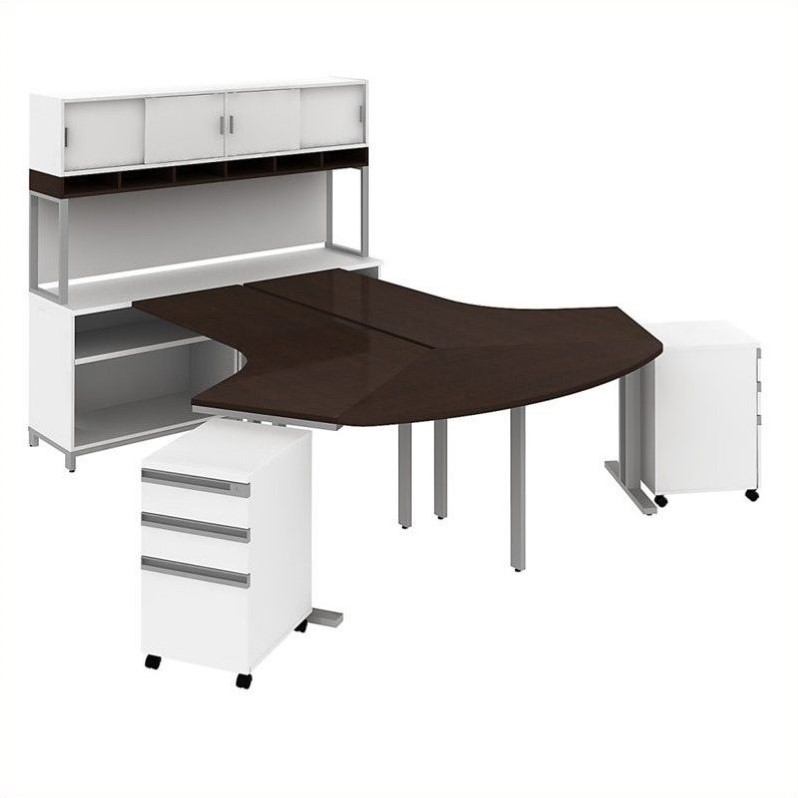 Bush BBF Momentum  2 Person Workstation with Hutch in Mocha Cherry