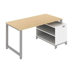 Bush BBF Momentum 60W x 30D Floating Desk with Storage in Natural Maple