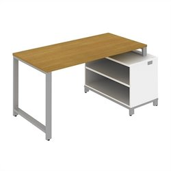 Bush BBF Momentum 60W x 30D Floating Desk with Storage in Modern Cherry