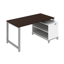 Bush BBF Momentum 60W x 30D Floating Desk with Storage in Mocha Cherry