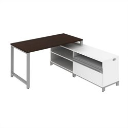 Bush BBF Momentum 60W X 30D Floating Desk with 24H Storage in Mocha Cherry