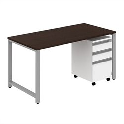 Bush BBF Momentum 60W x 30D Desk with 3Dwr Mobile Pedestal in Mocha Cherry