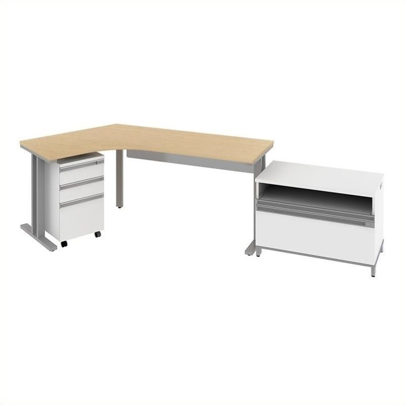 Bush BBF Momentum  Left Desk with Storage in Natural Maple