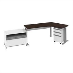 Bush BBF Momentum  Right Desk with Storage in Mocha Cherry