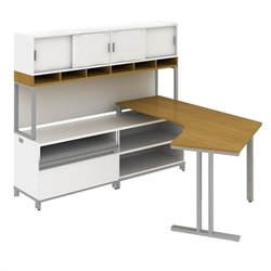 Bush BBF Momentum Left L-Shaped Desk with Hutch in Modern Cherry