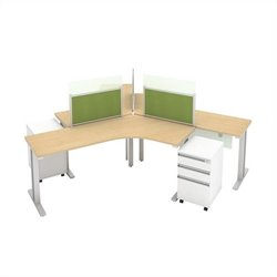 Bush BBF Momentum 3 Person Teaming Station with (3) 3Dwr Mobile Pedestals in Natural Maple