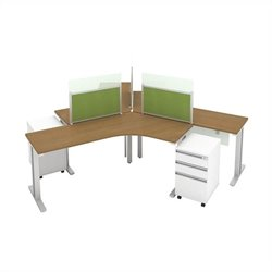 Bush BBF Momentum 3 Person Workstation with Storage in Modern Cherry