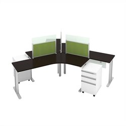 Bush BBF Momentum 3 Person Workstation with Storage in Mocha Cherry
