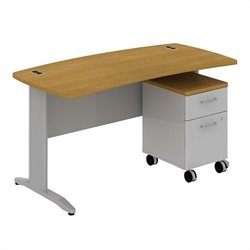 Bush BBF Sector 60W X 30D Curved Desk with 2Dwr Mobile Pedestal in Modern Cherry