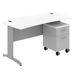 Bush BBF Sector 60W X 30D Curved Desk with 2Dwr Mobile Pedestal in White