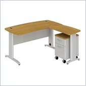 BBF Sector 60W X 30D Curved L-Desk with 2Dwr Mobile Pedestal