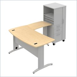 Bush BBF Sector 60W X 30D Curved L-Desk with RH Storage Locker in Natural Maple