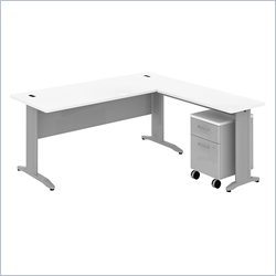 Bush BBF Sector 72W X 30D Rectangular L-Desk with Mobile Pedestal in White
