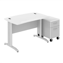 Bush BBF Sector 48W X 30D Curved Desk with 2Dwr Mobile Pedestal in White