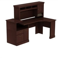 Bush BBF Syndicate Expandable Corner WorkStation with Hutch in Harvest Cherry