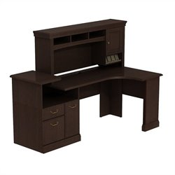 Bush BBF Syndicate Expandable Corner Desk with Hutch in Mocha Cherry