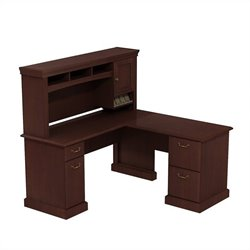 Bush BBF Syndicate 60W X 60D L-Desk with Hutch Storage in Harvest Cherry