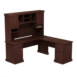 Bush BBF Syndicate 72W X 72D L-Desk with Hutch in Harvest Cherry