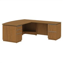 Bush Business Furniture Milano2 RH L-Station in Golden Anigre
