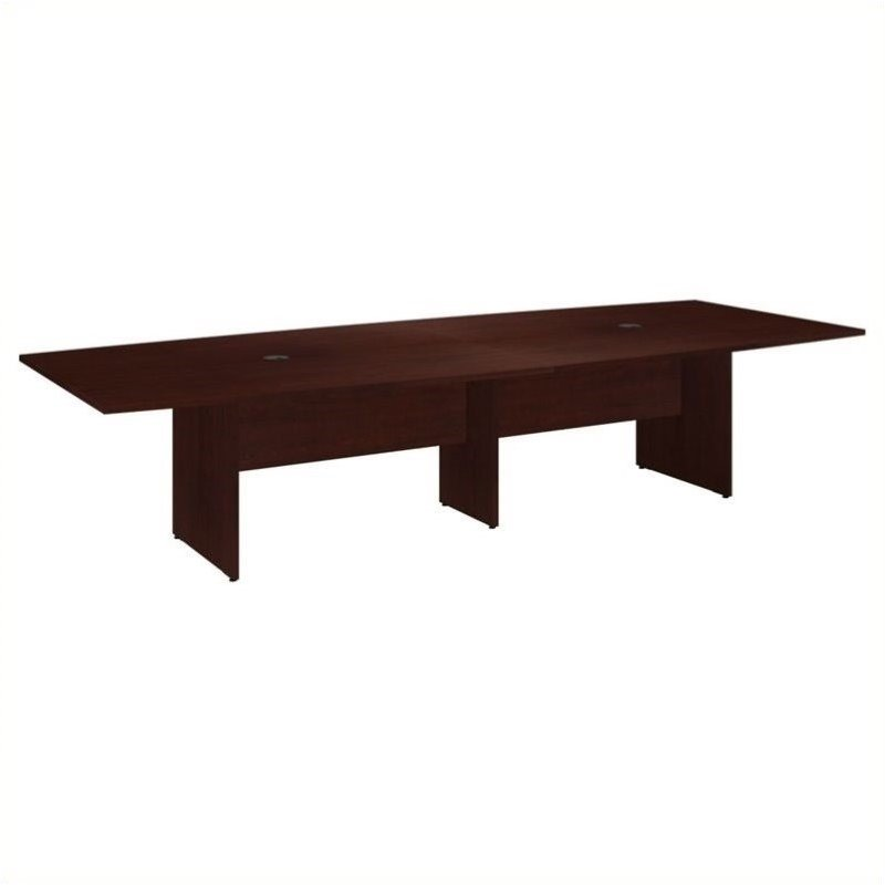 Bush BBF 120L x 48W Conference Table Kit - Wood Base in Harvest Cherry
