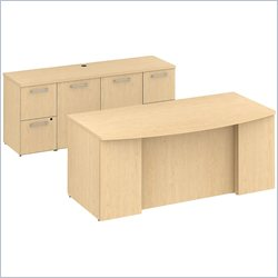 BBF 300 Series 72 Bow Front Double Pedestal Desk in Natural Maple
