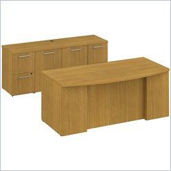 BBF 300 Series 72 Bow Front Double Pedestal Desk in Modern Cherry