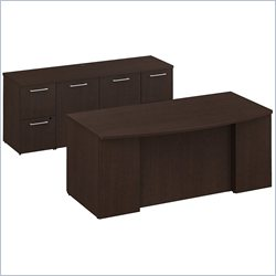 BBF 300 Series 72 Bow Front Double Pedestal Desk in Mocha Cherry