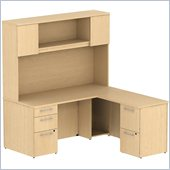 BBF 300 Series 66 L-Shape Desk with Hutch in Natural Maple
