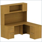 BBF 300 Series 66 L-Shape Desk with Hutch in Modern Cherry