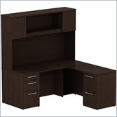 BBF 300 Series 66 L-Shape Desk with Hutch in Mocha Cherry