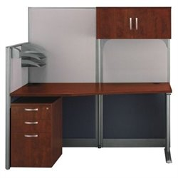 Bush BBF Office-in-an-Hour Workstation with Storage in Hansen Cherry