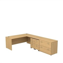 Bush BBF Series C 72Wx30D L Desk with 3Dwr Mobile Pedestal in Light Oak