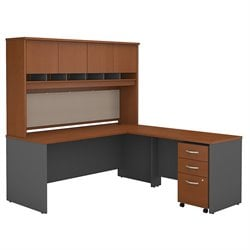 Bush BBF Series C 72W x 30D L-Desk with Hutch and 3Dwr Mobile Pedestal in Auburn Maple