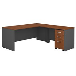 Bush BBF Series C 72Wx30D L-Desk with 3Dwr Mobile Pedestal in Auburn Maple