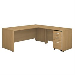 Bush BBF Series C 72Wx30D L-Desk with 3Dwr Mobile Pedestal in Light Oak
